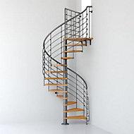 Escalier métal et bois Magia 70Xtra Ø150 cm 14 marches + palier gris fonte/clair