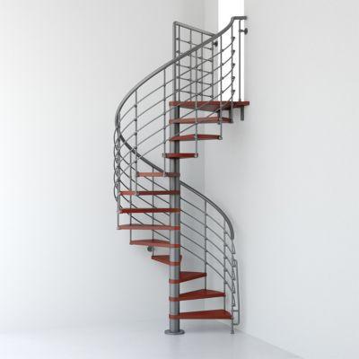Escalier métal et bois magia 70xtra Ø150 cm 14 marches palier gris fontecerisier