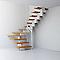 Escalier en U métal et bois Magia 90 l.70 cm 10 marches gris blanc/claire