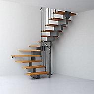 Escalier en U métal et bois Magia 90 l.70 cm 12 marches gris fonte/clair