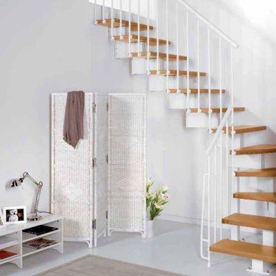 Escalier en l métal et bois magia 90 l.80 cm 11 marches blancclair
