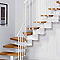 Escalier en L métal et bois Magia 90 l.80 cm 11 marches blanc/clair
