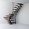 Escalier en U métal et bois Magia 90 l.80 cm 11 marches gris fonte/cerisier