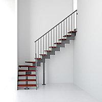 Escalier en L métal et bois Magia 90 l.80 cm 12 marches gris fonte/cerisier