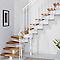 Escalier en L métal et bois Magia 90 l.80 cm 14 marches blanc/clair