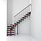 Escalier en L métal et bois Magia 90 l.80 cm 14 marches gris fonte/cerisier
