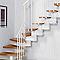 Escalier en L métal et bois Magia 90 l.90 cm 11 marches gris fonte/clair