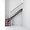Escalier en L métal et bois Magia 90 l.90 cm 12 marches gris fonte/cerisier