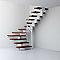 Escalier en U métal et bois MAGIA 90 l.90 cm 12 marches blanc/cerisier