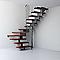Escalier en U métal et bois Magia 90 l.90 cm 12 marches gris fonte/cerisier