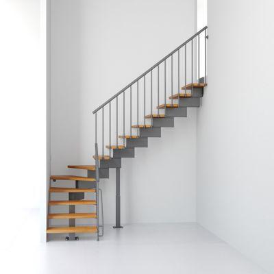 Escalier en L métal et bois Magia 90 l.90 cm 14 marches gris fonte/clair