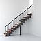 Escalier en R métal et bois MAGIA 90 l.70 cm 10 marches gris fonte/cerisier