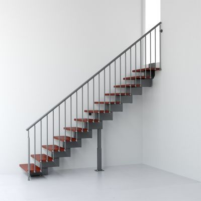 Escalier droit métal et bois Magia 90 l.70 cm 10 marches gris fonte/cerisier