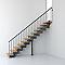 Escalier en R métal et bois MAGIA 90 l.90 cm 10 marches gris fonte/clair