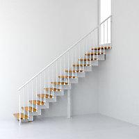 Escalier en R métal et bois Magia 90 l.70 cm 11 marches blanc/clair