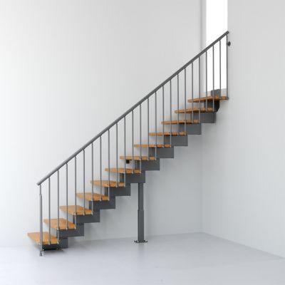 Escalier droit métal et bois Magia 90 l.70 cm 12 marches gris fonte/clair
