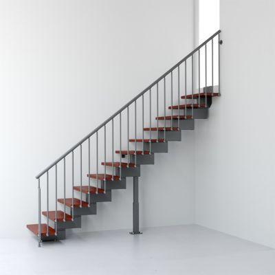 Escalier en R métal et bois Magia 90 l.80 cm 12 marches gris fonte/cerisier