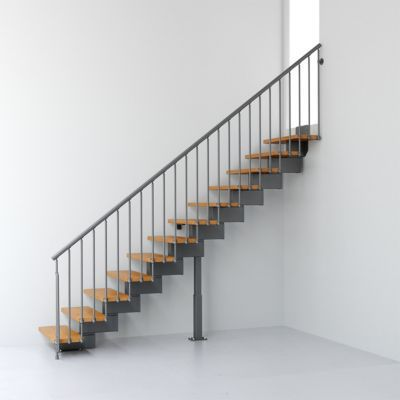 Escalier droit métal et bois Magia 90 l.70 cm 14 marches gris fonte/clair