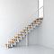 Escalier en R métal et bois MAGIA 90 l.90 cm 14 marches blanc/clair