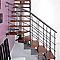 Escalier en L métal et bois Magia 90Xtra l.70 cm 10 marches gris Fonte/cerisier