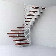 Escalier en U métal et bois Magia 90Xtra l.70 cm 10 marches gris blanc/cerisier