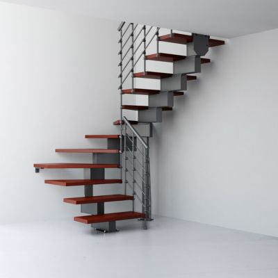 Escalier en U métal et bois Magia 90Xtra l.70 cm 11 marches gris fonte/cerisier
