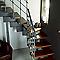 Escalier en L métal et bois Magia 90Xtra l.80 cm 12 marches gris fonte/cerisier