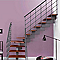 Escalier en L métal et bois Magia 90Xtra l.80 cm 14 marches gris fonte/cerisier