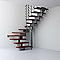 Escalier en U métal et bois MAGIA 90Xtra l.80 cm 14 marches gris fonte/cerisier