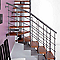 Escalier en L métal et bois Magia 90Xtra l.90 cm 11 marches gris Fonte/cerisier