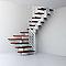 Escalier en U métal et bois Magia 90Xtra l.90 cm 11 marches blanc/cerisier
