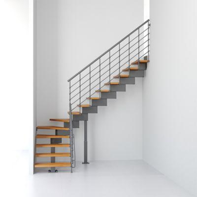 Escalier en L métal et bois Magia 90Xtra l.90 cm 12 marches gris fonte/clair