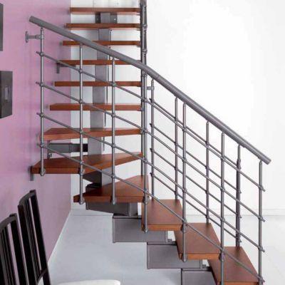 Escalier en L métal et bois Magia 90Xtra l.90 cm 12 marches gris fonte/cerisier