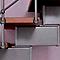 Escalier en L métal et bois Magia 90Xtra l.90 cm 14 marches gris fonte/cerisier