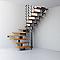 Escalier en U métal et bois MAGIA 90Xtra l.90 cm 14 marches gris fonte/clair