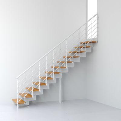 Escalier droit métal et bois magia 90xtra l.90 cm 11 marches blancclair
