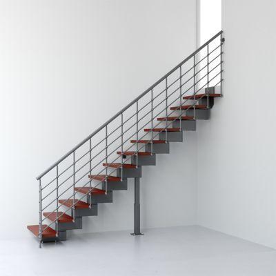 Escalier droit métal et bois Magia 90Xtra l.70 cm 12 marches gris fonte/cerisier