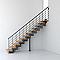 Escalier droit métal et bois MAGIA 90Xtra l.80 cm 12 marches gris fonte/clair