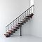 Escalier droit métal et bois MAGIA 90Xtra l.90 cm 12 marches gris Fonte/cerisier