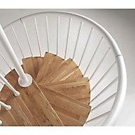 Escalier hélicoïdal métal et bois Magia 70 Ø110 cm 12 marches blanc/chêne