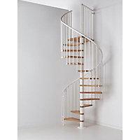 Escalier helicoïdal métal et bois Magia 70 Ø150 cm 12 marches blanc/chêne