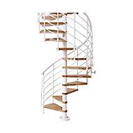 Escalier hélicoïdal métal et bois Magia 70Xtra Ø150 cm 12 marches blanc/chêne