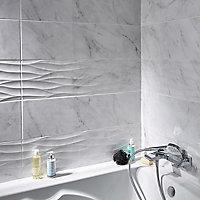 Carrelage mur décor blanc brillant effet marbre 25 x 90 cm Basento