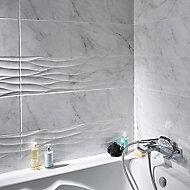Carrelage Mur Decor Blanc Brillant Effet Marbre 25 X 90 Cm Basento Vendu Au Carton Castorama