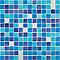 Mosaïque bleue nuit blanc 30 x 30 cm