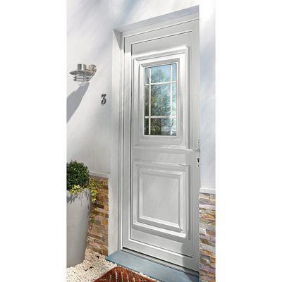 Porte d'entrée pvc Geom Conveks blanc 80 x h.215 cm poussant droit