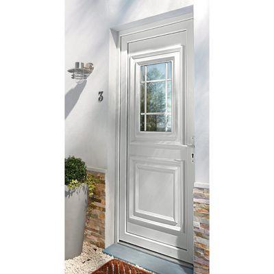 Porte d'entrée pvc Geom Conveks blanc 90 x h.215 cm poussant droit