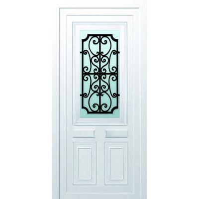 Porte d'entrée pvc Geom Gonia blanc 80 x h.215 cm poussant droit