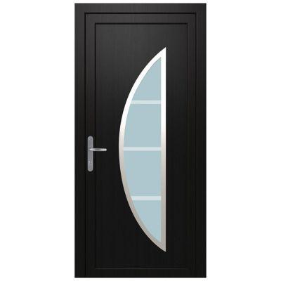 Porte d'entrée pvc Geom Diagona gris 80 x h.215 cm poussant droit