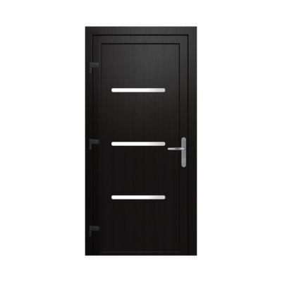 Porte d'entrée pvc Geom Metron gris 80 x h.215 cm poussant droit
